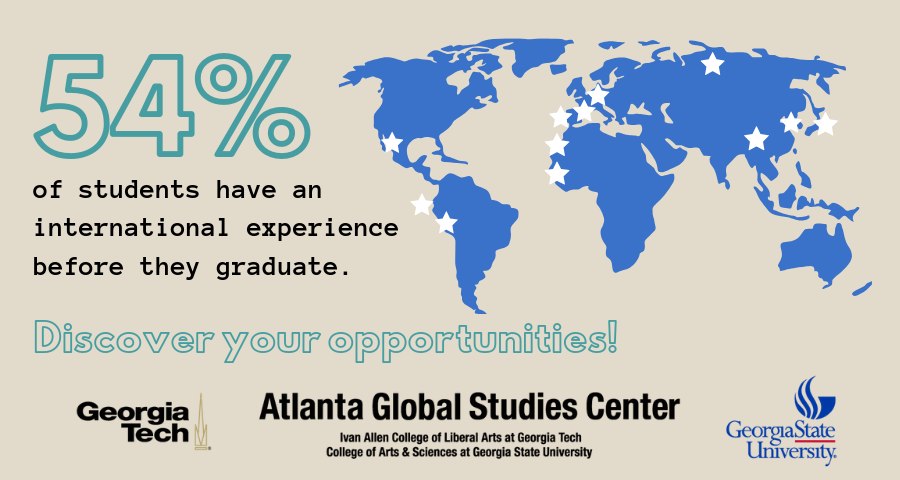 54% of students have an international experience before they graduate.  Discover your opportunities!